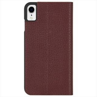 【エンボスレザー調のシンプルな手帳型ケース】iPhoneXR Barely There Folio-Brown