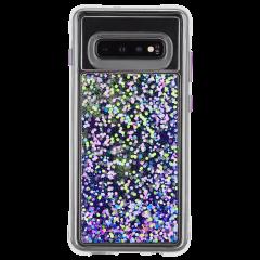 Galaxy S10 ハード スマホケース カバー [耐衝撃・ワイヤレス充電対応・ハイブリッド・スリム構造] 流れる キラキラ ウォーターフォール パープルグロウ