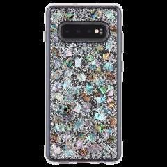 Galaxy S10 ハード ケース カバー [耐衝撃・ワイヤレス充電対応・ハイブリッド・スリム構造]透明 キラキラ シェル風 純銀箔 カラット マザーオブパール