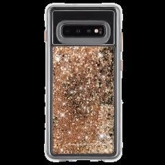 Galaxy S10+ ハード スマホケース カバー [耐衝撃・ワイヤレス充電対応・ハイブリッド・スリム構造] 流れる キラキラ ウォーターフォール ゴールド