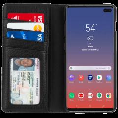 手帳型 Galaxy S10+ 二つ折 カバー IC カード 収納 [耐衝撃・画面保護]本革 レザー ウォレット フォリオ ブラック