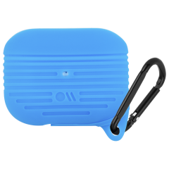 【AirPods Pro ケース・ワイヤレス充電OK・耐水】 AirPods Pro Tough Case Blue w/Black Carabiner Clip