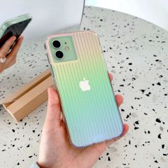 【虹色に輝くデザインケース+抗菌仕様】iPhone 12 mini Tough Groove Iridescent w/ Micropel