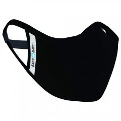 Safe+Mate 布フェイスマスク - 洗濯可能 & 再利用可能 - 大人用 サイズ S/M - コットン - フィルター付き - ブラック