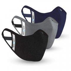 Safe+Mate 布フェイスマスク - 洗濯可能&再利用可能 - 大人用 サイズ L/XL - コットン - フィルター付き - 3パック - ブラック/ネイビー/グレー