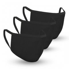 Safe+Mate 布フェイスマスク - 洗濯可能&再利用可能 - 子供用 サイズ 7〜11才 - コットン - フィルター付き - 3パック - ブラック