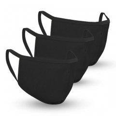 Safe+Mate 布フェイスマスク - 洗濯可能&再利用可能 - 子供用 サイズ 3〜6才 - コットン - フィルター付き - 3パック - ブラック