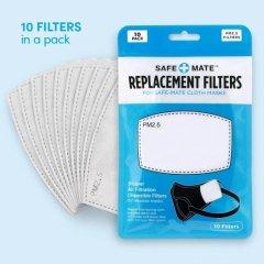 Safe+Mate 布フェイスマスク用 5層交換用フィルター (10枚パック) 子供用 サイズ 3〜6才 & 7〜11才 用