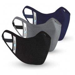 Safe+Mate 布フェイスマスク - 洗濯可能&再利用可能 - 大人用 サイズ S/M - コットン - フィルター付き - 3パック - ブラック/ネイビー/グレー
