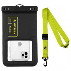 【Pelican×Case-Mate】防水ポーチ Marine Waterproof Floating Pouch XL - Black/Lime Green 7インチ程度のスマホまで対応