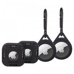 【Pelican】AirTag Pelican Protector 4Pack - w/Carabiner + Sticker Mount - Black 2種類各2個の4個セット