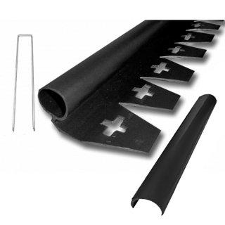 リサイクルエッジング(R) Qタイプ プラエッジ35 黒色 高さ:4cm 長さ:2m×3本、アンカーピン9本、ストレートジョイント3本入り(旧 防草シート見切)