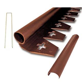 リサイクルエッジング(R) Qタイプ プラエッジ35 茶色 高さ:4cm 長さ:2m×3本、アンカーピン9本、ストレートジョイント3本入り(旧 防草シート見切)