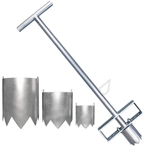 植栽オープナー®セット(植栽オープナー®/専用筒刃セット)70mm/100mm/150mm/200mm筒刃4種、固定用ナット入<br>