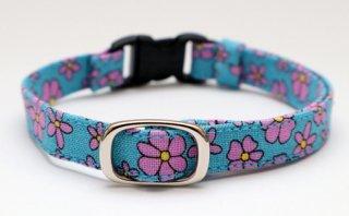 猫首輪 青にピンク花