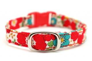 猫首輪 赤いお花