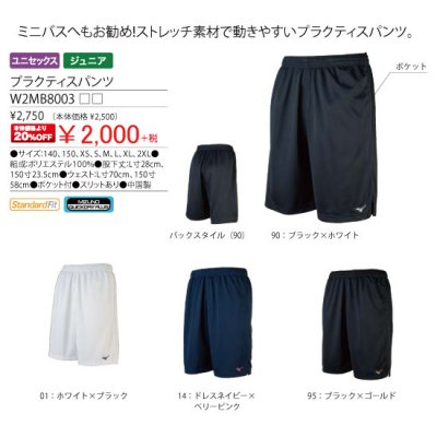<img class='new_mark_img1' src='https://img.shop-pro.jp/img/new/icons15.gif' style='border:none;display:inline;margin:0px;padding:0px;width:auto;' />MIZUNO プラクティスパンツ<BR>W2MB8003<BR>