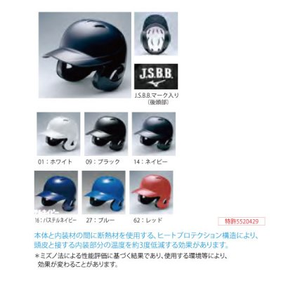 MIZUNO 軟式用ヘルメット(両耳付打者用)<BR>1DJHR101<BR>
