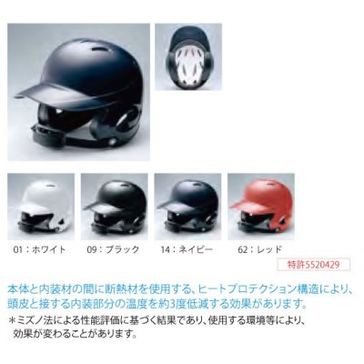 MIZUNO 少年硬式用ヘルメット(両耳付打者用)<BR>2HA788<BR>