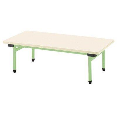 多目的テーブル 抗ウイルスメラミン W900×D600 グリーン 【別途送料、都度見積り】 <BR> 110-758 <BR>