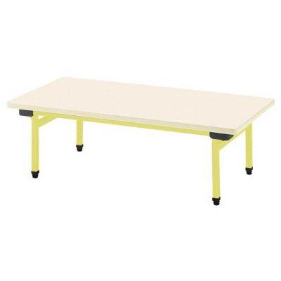多目的テーブル 抗ウイルスメラミン W1200×D600 イエロー 【別途送料、都度見積り】 <BR> 110-763 <BR>