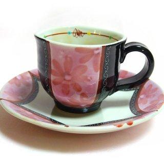 【九谷焼 虚空蔵窯】カップ&ソーサー フラベール ピンク