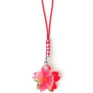 【和風アクセサリー】 ちりめんアクリル縁起物根付 桜 さくら サクラ ラメ入り