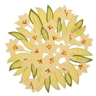 ユリ刺繍 円形ドイリー 花瓶敷き 25cm イエロー