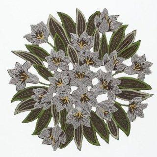 ユリ刺繍 円形ドイリー 花瓶敷き 25cm ブラウン