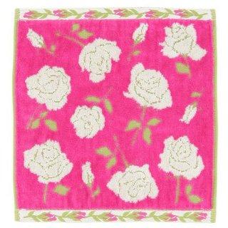 【薔薇のハンカチ】 今治 ハンカチタオル ジャガード織 フォルテ薔薇 ピンク