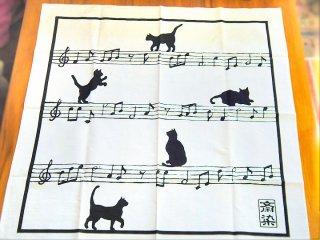 【手捺染本染め風呂敷】 猫と楽譜柄風呂敷 (70cm×70cm)