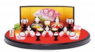 【お雛さま】【雛人形】錦彩 花かざり雛 平飾り