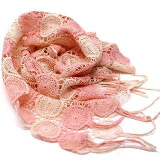 桜染め エンブロイスカーフ アリウム  ピンク