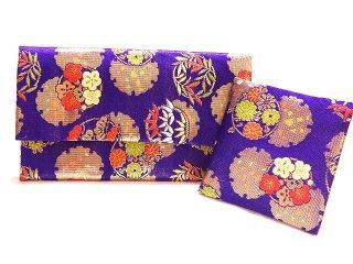 【金襴の和小物】【花楽堂オリジナル手作り札入れ】 金襴 札入れ財布とコースターのセット 30