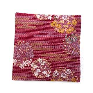 【金襴のハンドメイド和小物】  金襴 和柄 コースター ワイン 花紋柄