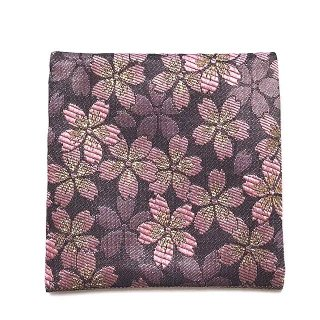 【金襴のハンドメイド和小物】  金襴 和柄 コースター 濃藤色 桜柄