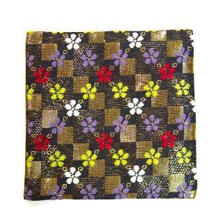 【金襴のハンドメイド和小物】  金襴 和柄 コースター 金黒格子 小花柄