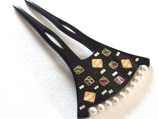和風かんざし らでん真珠飾り スクエア柄