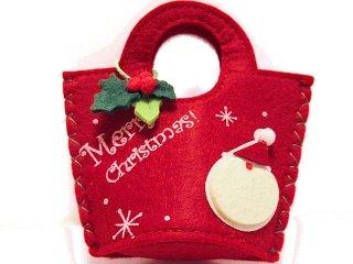 【クリスマスの贈り物】 フェルトバッグ サンタ