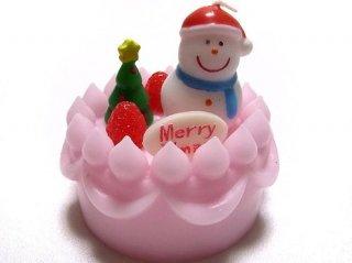 クリスマスケーキキャンドル ピンク スノーマン