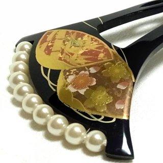 和風かんざし 真珠飾り 蒔絵 桜あわせ模様 黒