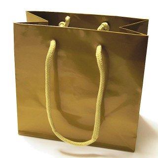 ギフト紙袋 コーティングバッグ ゴールド(16.5×16×9)