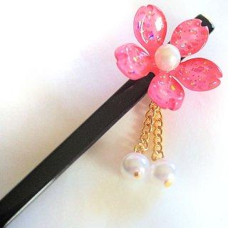 桜かんざし 真珠飾り  一本差し さくら ピンク