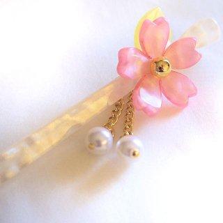 桜かんざし 真珠飾り  一本差し さくら ピンク/白軸