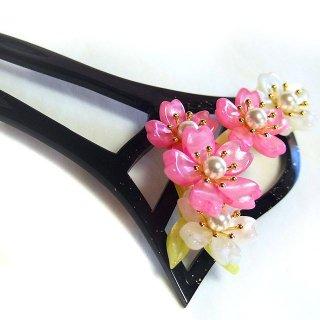 和風かんざし 二本足 そめいよしの 桜 ピンク・白/黒台