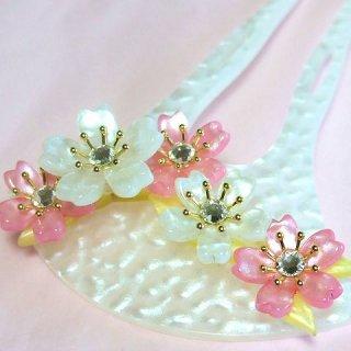 和風かんざし 二本足 そめいよしの 桜 ピンク・白/白台