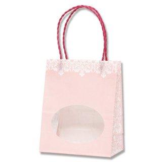 窓付きプチバッグ ダマスク柄 ピンク  *紙袋のみでの販売不可です*