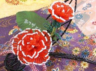 【母の日に手づくりの花を♪】『和風』カーネーションの羽飾りキット
