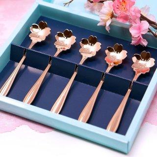 【ギフトに最適】【日本製フラワーカトラリー】桜のスプーン ピンクゴールド 5本ギフトセット