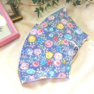 【花楽堂オリジナル】マスク 布マスク ブルーグレー ローズ小花柄 呉服屋の上質晒マスク 手作り 日本製